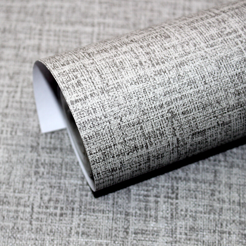 Faux grasscloth peel stick wallpaper lt grey linen self for Self stick grasscloth wallpaper