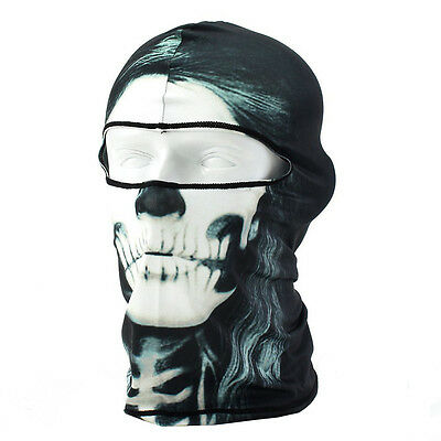 Balaclava Halloween Mask UV Protection Skull Printed Motorcycle Full Face Mask