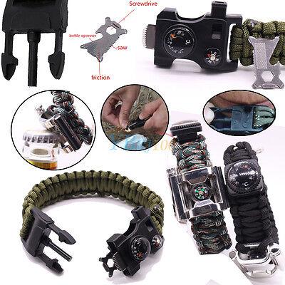Survival Paracord Bracelet Outdoor Whistle Flint Compass Gear Kits Accessories
