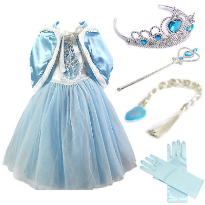 Cospaly Snow Queen Princess Party Dress Costume with 4 Accessories 3-9Years- (Queen Costume Accessories)