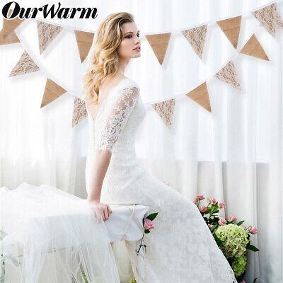 3M Wedding Lace Banner Background 13 Flag Burlap Lace Bunting Banner DIY Garland