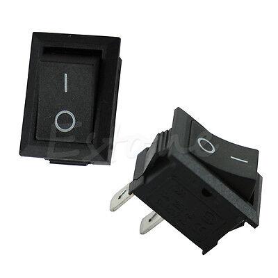 20x 250v 3a Mini Boat Rocker Switch Spst On-off Kcd1-2pin Black Plastic Button