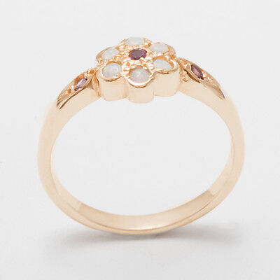 - Solid 18ct 750 Rose Gold Natural Pink Tourmaline & Opal Womens Daisy Ring