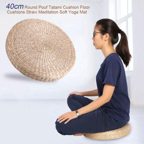 40cm Round Pouf Tatami Cushion Floor Mat Natural Straw Medit