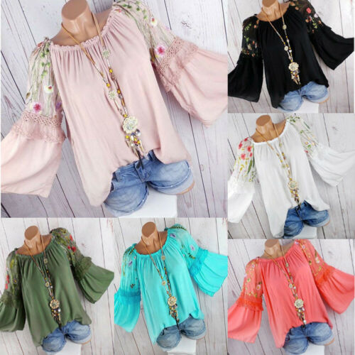 Plus Size Boho Women Long Sleeve Kaftan Baggy Blouse T Shirt