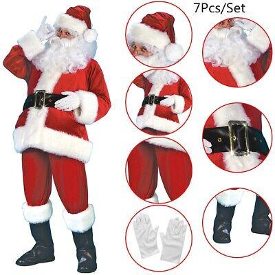 7 Pieces Santa Claus Suit Plush Father Christmas Costume XL Fancy Dress (Speciality Apparel)