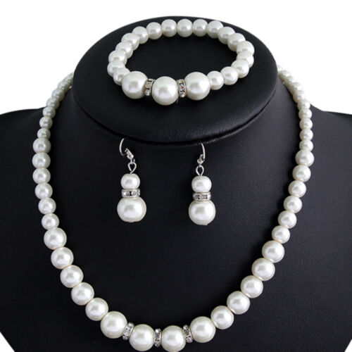 For Wedding Bridesmaid Women Girl white Pearl Necklace Brace
