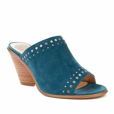 Designers Vince Camuto teal suede leather peep toe mules shoes sandals 41...
