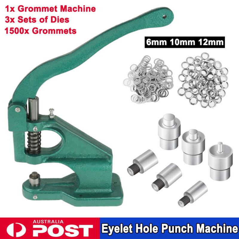 """Grommet Machine 3 Die 1/4"""" 3/8"""" 1/2"""" 1500pcs Grommets Eyelet Hand Press Tool"""