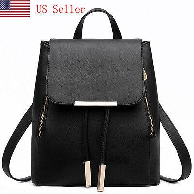 Women Girl Backpack Travel Pu Leather Handbag Rucksack Shoulder School Bag Black