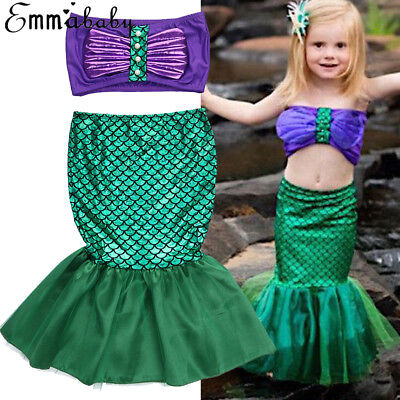 Mermaid Girls Costume Kids Dress Tail Fancy Little Swimsuit Swimwear Ariel Child - Kids Fancy Dress Costumes