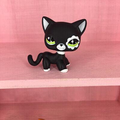 LPS #2249 Black Short Hair Cat Littlest Pet Shop Green Eyes Kitty Girls Toys](Black Kitty)