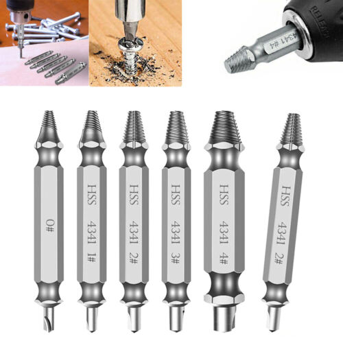 6Pcs Damaged Screw Extractor Set Speed Out Drill Bits Broken