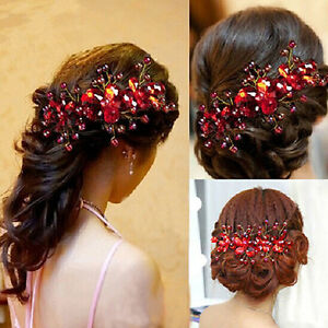 Women-Red-Crystal-Rhinestone-Flower-Wedding-Party-Bridal-Hair-Comb-Hairpin-Clip