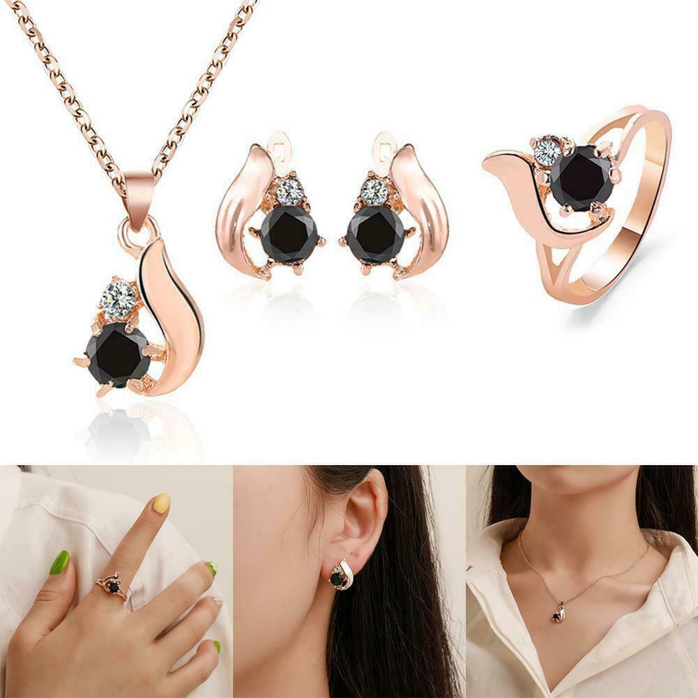 4pcs Set Obsidian Ring Necklace Stud Earring Jewelry Sterlin
