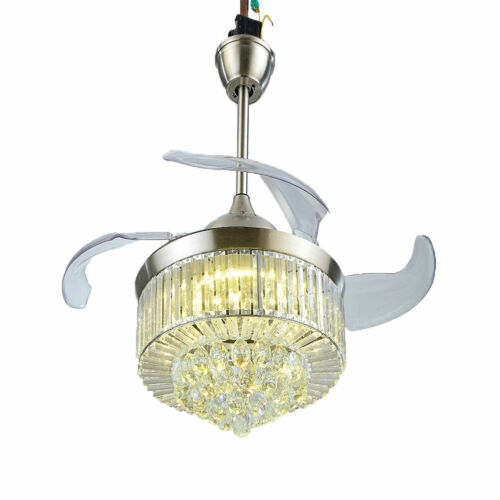 """42"""" Invisible Ceiling Fan Light Crystal Chandelier Pendant Lamp w/Remote - Silver 6"""
