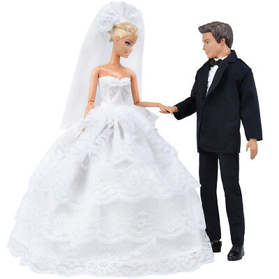 E-TING Wedding Gown Dress Clothes + Formal Suit Outfit For Barbie Ken Doll S