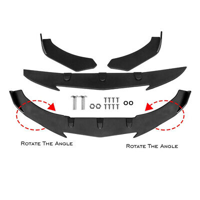 Adjustable Matte Black Car Front Bumper Lip Spoiler Thicken Body Kit Universal