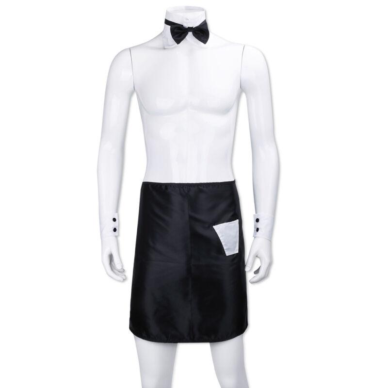 Kochschürze Küchenschürze Kostüm mit Manschetten + Krawatte Set Fasching Kostüm
