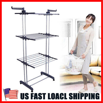 3Tier Rolling  Laundry Organizer Folding Drying Rack Clothes Dryer Hanger Stand Folding Clothes Rack