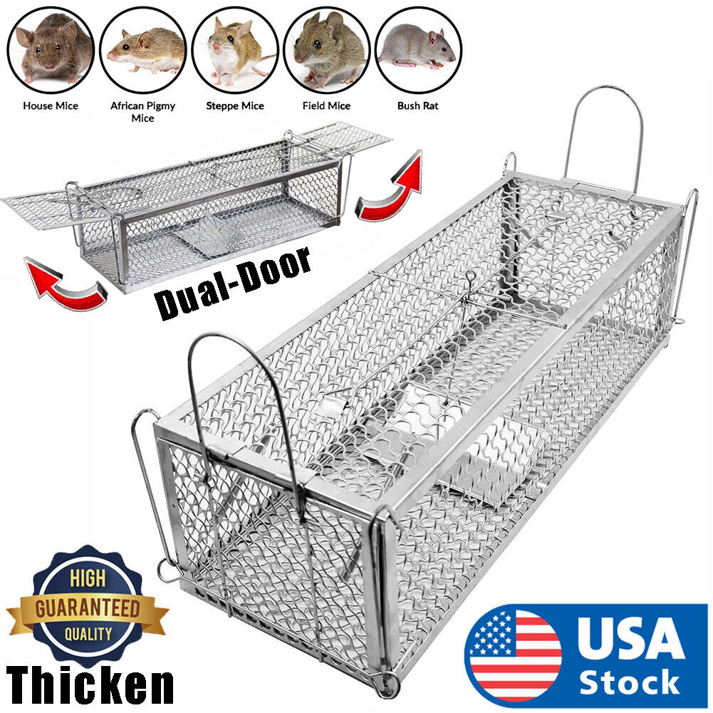 USA Dual-Door Mouse Trap Cage, Humane Live Mouse Cage Trap for Mice, Rats Animal & Rodent Control