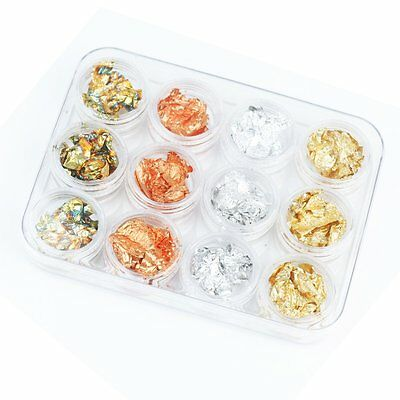 12 Box Gold Silver Copper Rainbow Foil Paillette Chip Nail Art Design Decoration