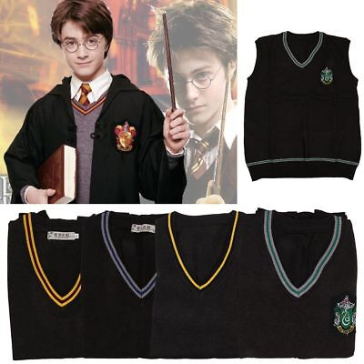 Harry Potter V-Ausschnitt Pullover Kostüm Weste Hogwarts Schule Uniform Sweater