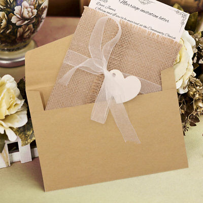 50×Burlap Rustic Wedding Invitations Cards Kit Greeting Card Postcard +Envelopes](Postcard Invitations)