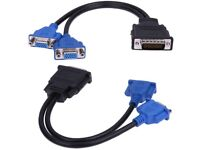 Video Card DMS-59 Male to Dual 15pin VGA Female Splitter Cable Connector Adapter