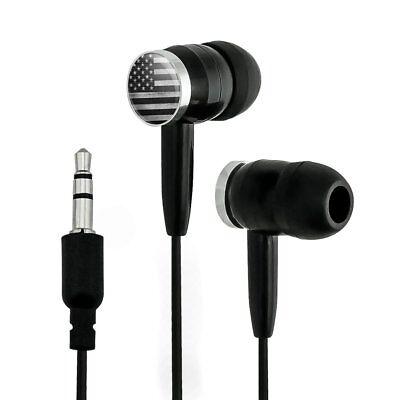 Rustic Subdued American Flag Wood Grain Design Novelty InEar Earbud Headphones