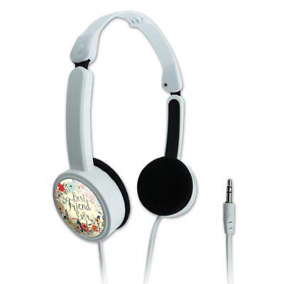 Best Friend Ever Floral Novelty Travel Portable On-Ear Foldable (Best Headphones On Ears)