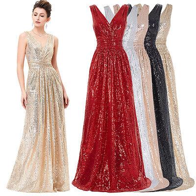 Luxus Brautkleider Pailletten Hochzeitskleid Lang Abendkleid Cocktailkleid Ball