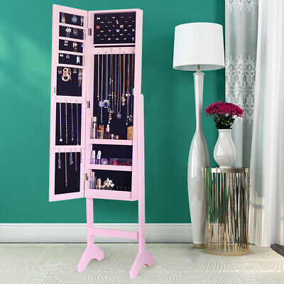 Large Floor Standing Jewelry Cabinet Storage Box Organisers Mirrored Cabinet NEW