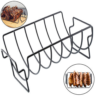 Non-Stick Stainless Steel BBQ Grill Stand Steak Holder Roasting Rib Rack -