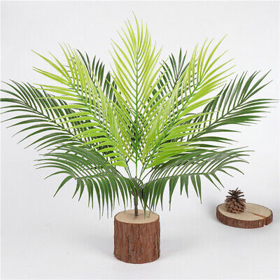 Plastic Palm Tree Decorations (9Heads Artificial Palm Tree Plant Fake Plastic Indoor Home Garden Tropical)