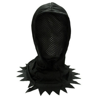 Adult/Teen Black Hidden Face Mask Hood ~ HALLOWEEN SCARY HORROR BLACK MESH MASK - Horror Face Mask