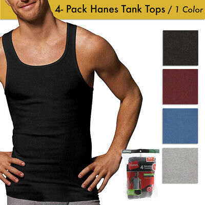Hanes Men's 4 Pack Tagless Comfortsoft Cotton Ribbed Tank Top Clothing, Shoes & Accessories