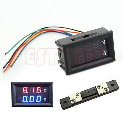 Led Digital Voltmeter Ammeter Amp Volt Meter Current Shunt Dc 100v 50a Dual