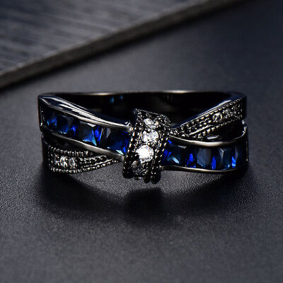 Black Gold Bow Knot Blue Sapphire CZ Cross Wedding Ring Jewelry Gift Size 4-12 Blue Sapphire Gold Cross