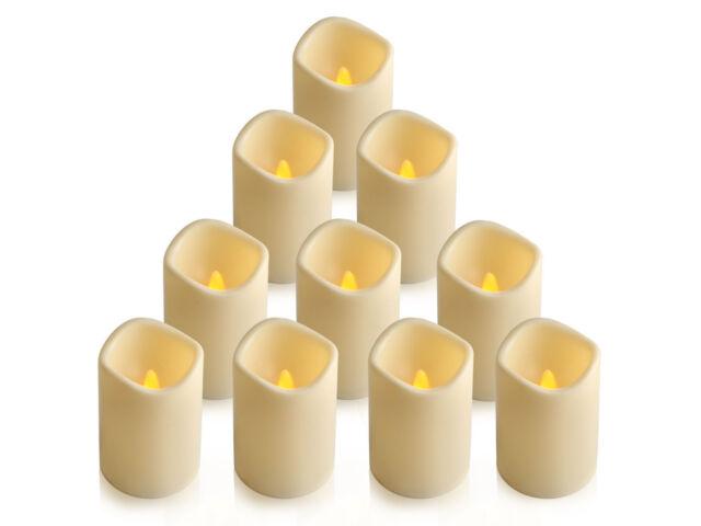 10Pcs/set Flickering Flameless Pillar LED Candle L