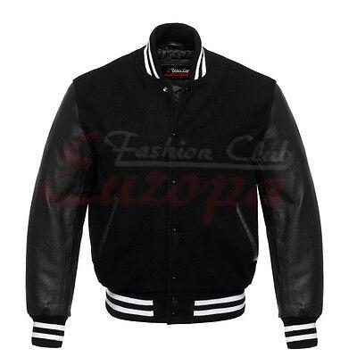 Varsity Black Letterman Wool Jacket with Black Real Leather Sleeves XS-4XL - Wholesale Letterman Jackets