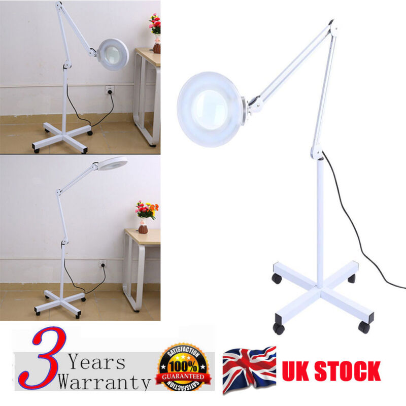 5X Magnifying Light Floor Rolling Stand Beauty Nail Facial Jewelry Work Lamp