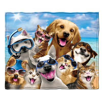 Dawhud Direct Dogs and Cats Beach Party Selfie Fleece Throw Blanket
