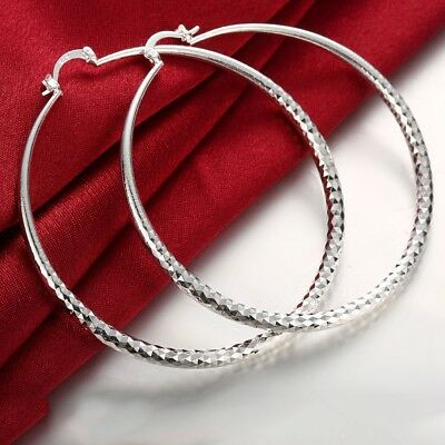 Womens  Sterling Silver Extra Large 70mm Diamond-Cut Round Hoop Earring