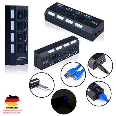 USB 3,0 HUB 4 Port Verteiler Adapter mit USB Kabel  für Notebook D@7