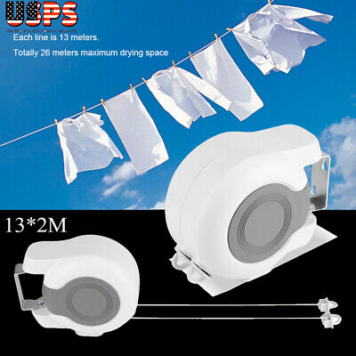 Indoor Outdoor 43Ft Retractable Laundry Clothesline Washing Clothes Drying Line