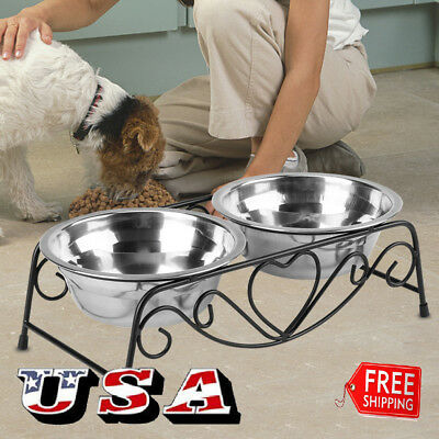 Stainless Steel Cat Dog Double Puppy Pet Water Food Feeder Dish Bowls Stand US ()