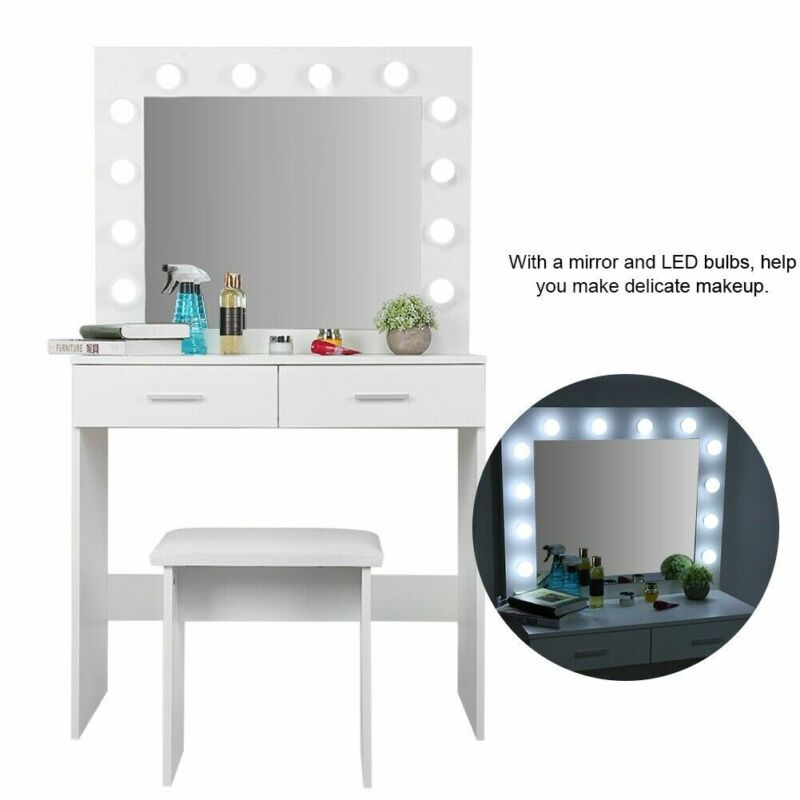 Vanity Mirror with Light Bulbs Dressing Table Makeup Desk w/ Stool and 2 Drawers