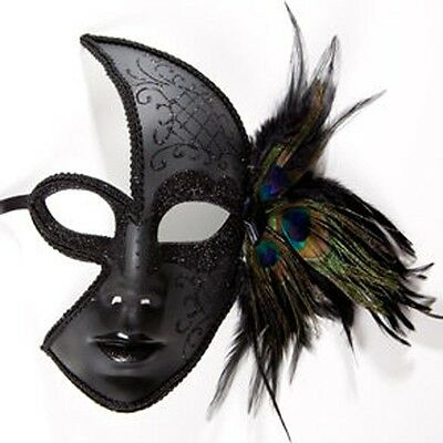 Black Venetian Feather Face Mask - Black Feather Masquerade Mask