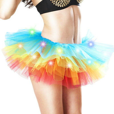 LED Light Up Neon Rainbow Tutu Fancy Dress Party Costume Adult Skirt Women  - Neon Costume